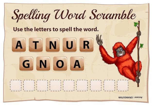 Ortografía word scramble game con palabra orangután