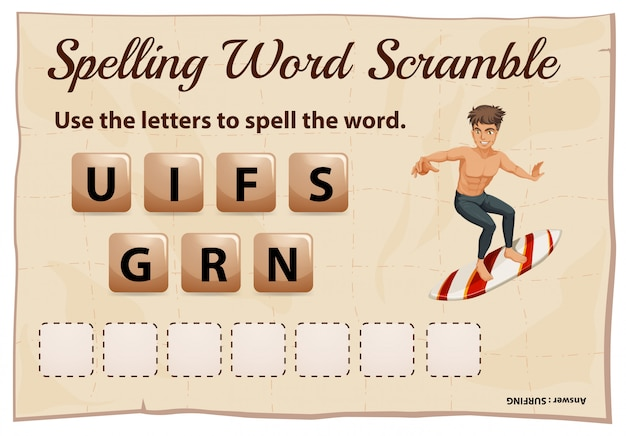 Ortografía word scramble para word surfing