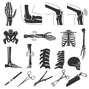 Ortopedia y espina dorsal vector símbolos negros. iconos de huesos humanos