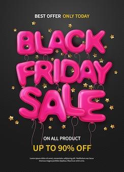 Oscura pancarta o póster con globos rosas formando texto venta de viernes negro
