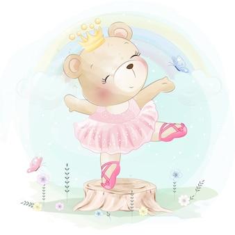 El osito está bailando ballet