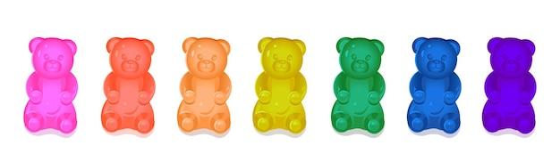 Ositos de goma de colores para niños. ilustración de dibujos animados de vector