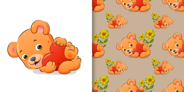 El oso abraza un gran corazón de color con su mano en un conjunto de patrones.