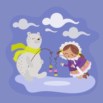 Oso de alaska niña esquimal invierno niño cómic animal divertido diseño plano dibujos animados dibujados a mano ilustración vectorial para imprimir