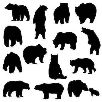 Oso, animal, montaña, silueta, vector