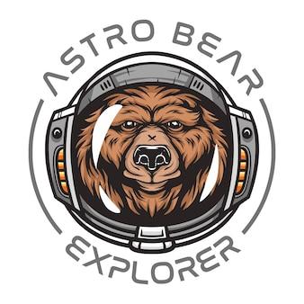 Oso astronauta, animal salvaje con traje espacial ilustración de animal salvaje para camiseta