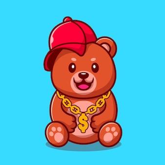 Oso de botín lindo con sombrero y collar de cadena de oro ilustración de dibujos animados. concepto de moda animal aislado. estilo de dibujos animados plana