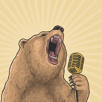 Oso cantando fuerte con micrófono vintage dibujo a mano ilustración vectorial