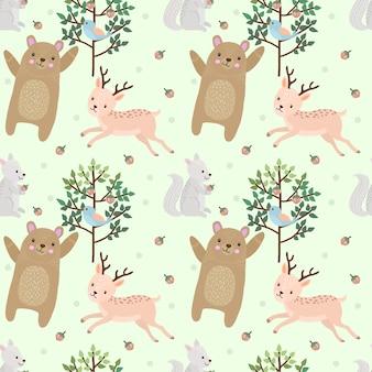 Oso y ciervos en el bosque de patrones sin fisuras.