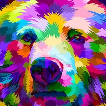 Oso colorido de cerca
