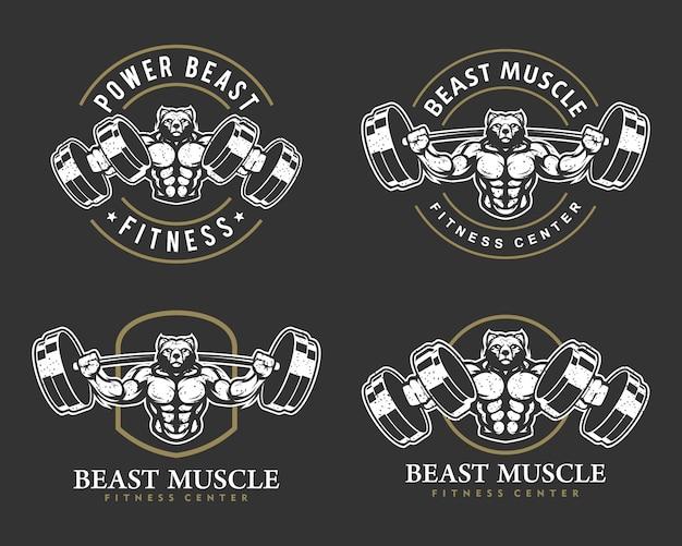 Oso con cuerpo fuerte, club de fitness o logotipo de gimnasio.