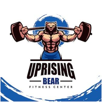Oso con cuerpo fuerte, gimnasio o logotipo de gimnasio.