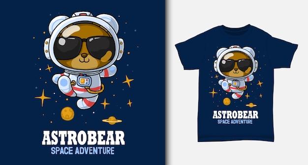 Oso de dibujos animados de astronauta. con diseño de camiseta.