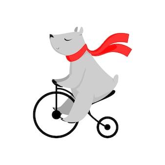 Oso de dibujos animados en bufanda roja montando bicicleta