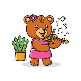 Oso de dibujos animados tocando un violín
