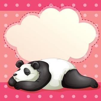 Un oso durmiendo con un rótulo vacío