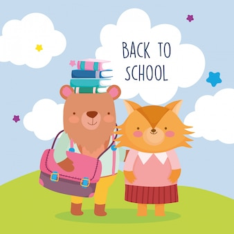 Oso de educación de regreso a la escuela con bolsa de libros en cabeza y zorro