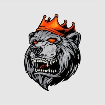 Oso enojado con mascota corona roja