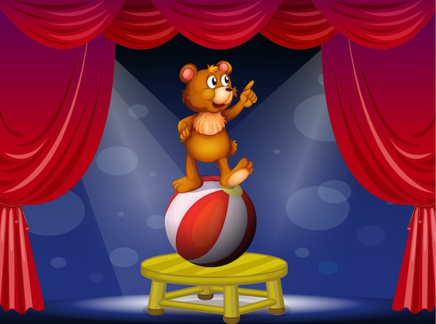 Un oso en el espectáculo de circo.