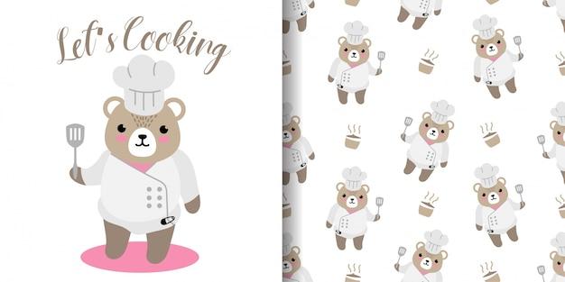 Oso feliz cocinando de patrones sin fisuras con ilustración dibujos animados baby shower tarjeta