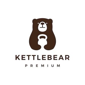 Oso gimnasio kettlebell fitness logo icono ilustración