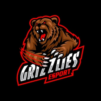 Oso grizzlies mascota logo esport gaming