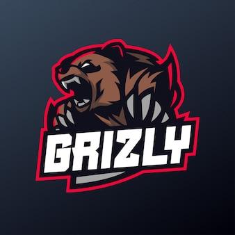 Oso grizzly enojado por deporte y esports logo
