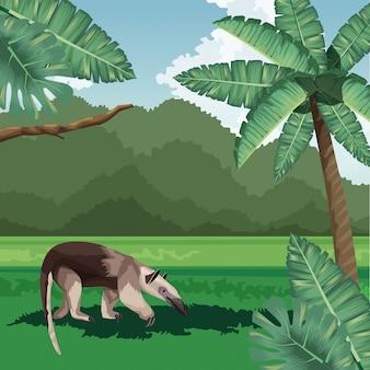 Oso hormiguero hojas arbusto fauna tropical y flora paisaje
