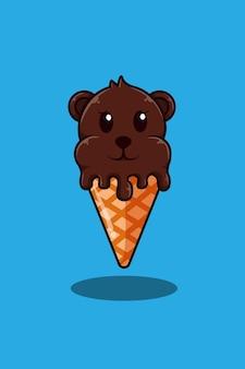 Oso con ilustración de dibujos animados de helado