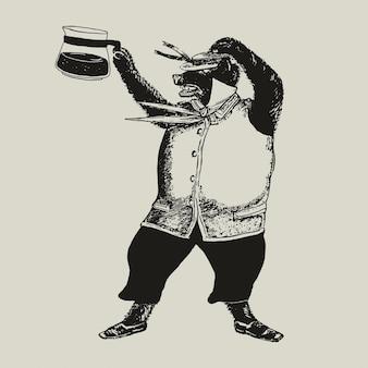 Oso con ilustración de identidad corporativa de empresa de logotipo de café
