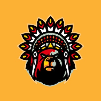 Oso indio esports logo mascota vector illustration
