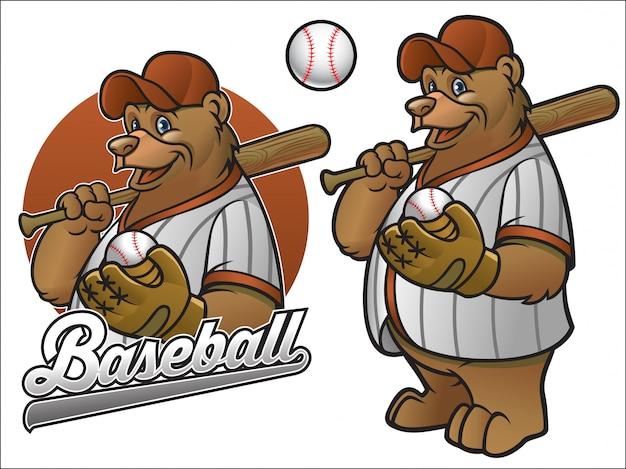 Oso jugador de béisbol de dibujos animados