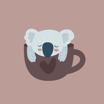 Oso de koala y copa con corazón.