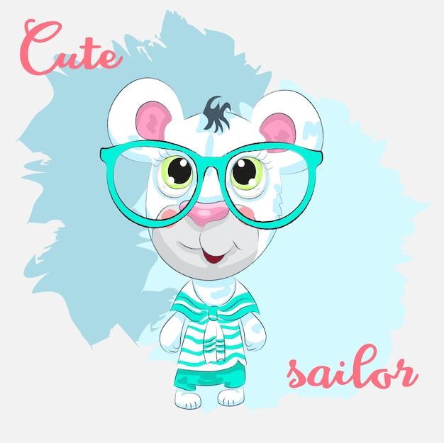 Oso lindo bebé con gafas dibujadas a mano de dibujos animados