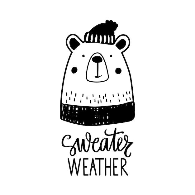 Oso lindo doodle en suéter y gorro de invierno.