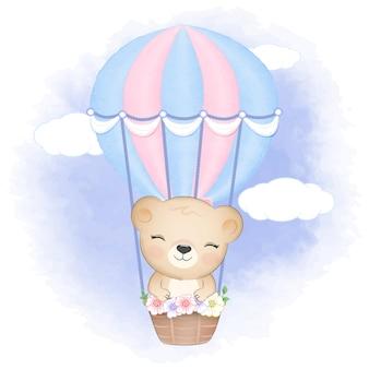 Oso lindo en globo de aire caliente dibujado a mano ilustración de animal de dibujos animados
