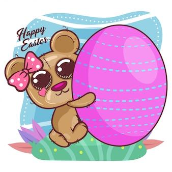 Oso lindo con el huevo de pascua feliz. vector