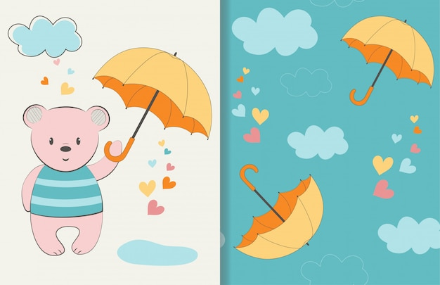 Oso lindo con ilustración paraguas