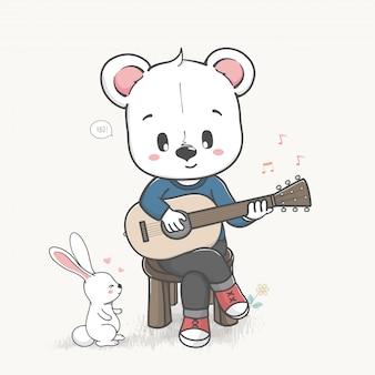 Oso lindo jugar un vector dibujado mano de la historieta de guitarra