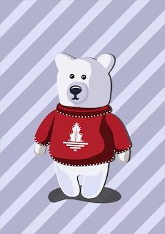Oso lindo del norte blanco navideño con un suéter rojo con un árbol de navidad blanco