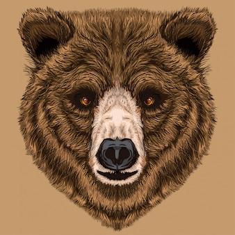 Oso lindo teddy face ilustración