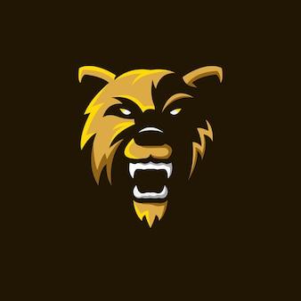 Oso, logotipo, mascota, ilustración