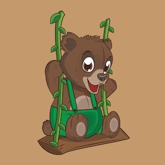 Oso marrón de dibujos animados lindo