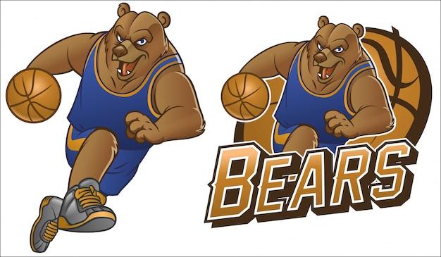 Oso mascota de baloncesto de dibujos animados