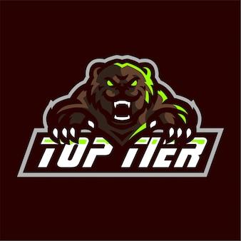 Oso mascota logotipo de juegos