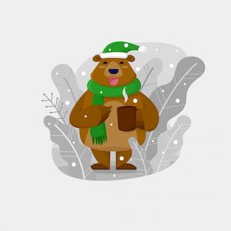Oso de navidad beber chocolate caliente al aire libre