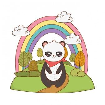 Oso panda lindo en el campo arbolado personaje