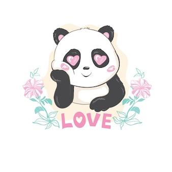 Oso panda lindo, ilustración vectorial