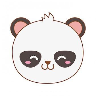 Oso panda lindo en el tronco de carácter arbolado