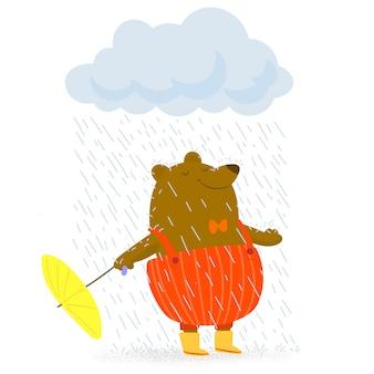 Oso con paraguas en tiempo lluvioso